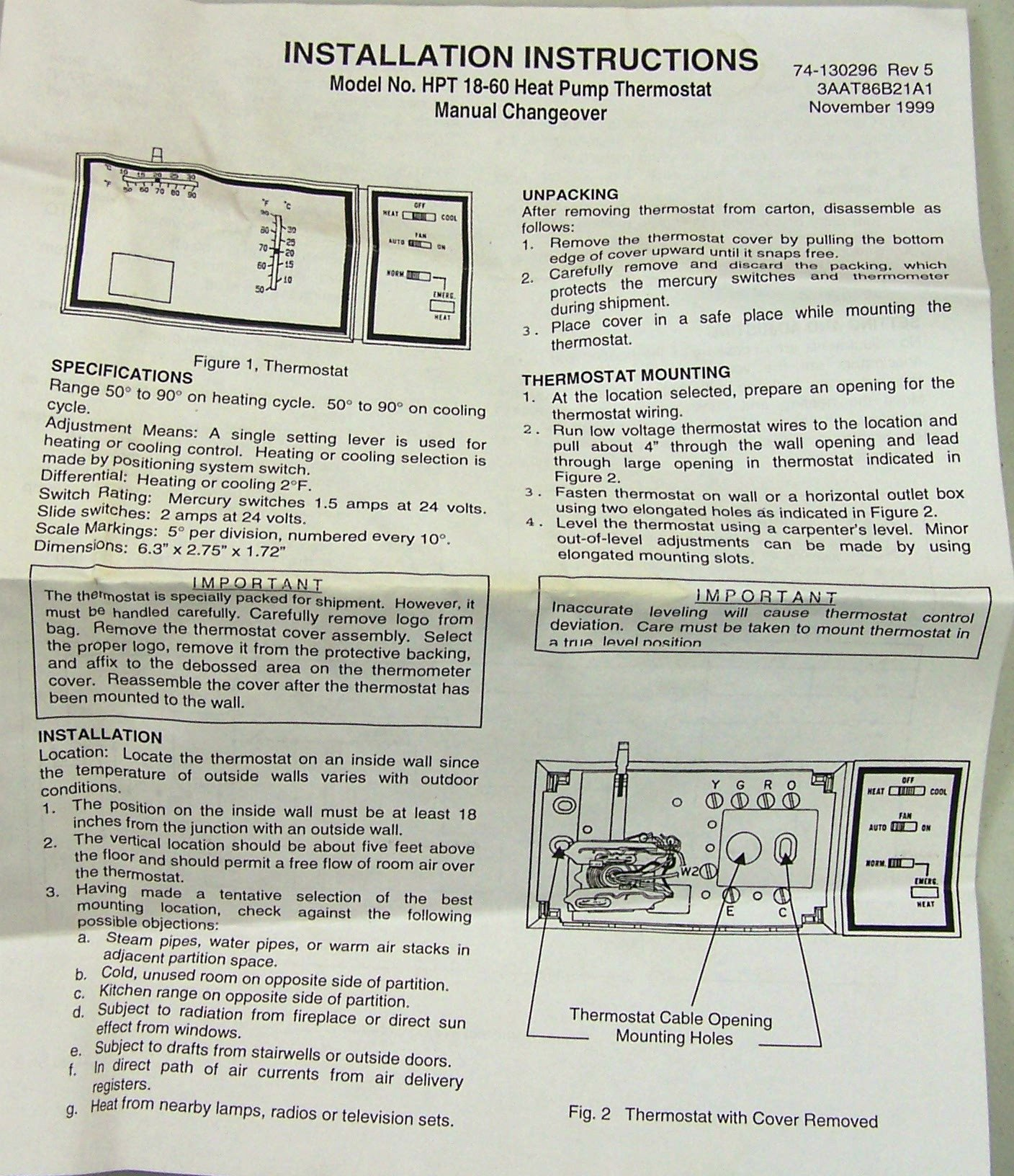 101_7864 hpt18 60 goodman heat pump thermostat with emergency heat janitrol thermostat hpt 18-60 wiring diagram at alyssarenee.co